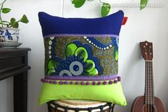 Throw Pillow - African Purple Tribal Cushion Cover - Ethnic Home Deco
