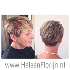 Short hairstyle with brown and blond to create volume.