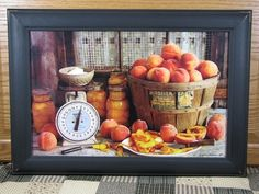 This still life photography print by Irvin Hoover features a scales and canned peaches just like grandma used to make. The framed art is 11x17 and comes under glass in a black distressed frame. On #sale through October 2015. https://www.primitivestarquiltshop.com/collections/framed-art-prints/products/irvin-hoover-artwork-peaches-scales #primitivecountryhomedecor