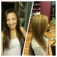 Neutral caramel base with blonde highlight and soft chocolate brown lowlight!  www.envy-hair-salon.com