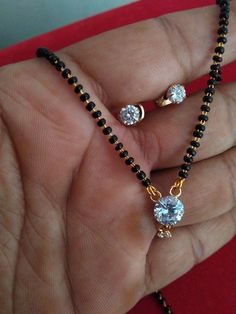designer round solitaire AD stone single mangalsutra pendant with earrings  #panassh