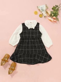 Toddler Girls Bow Front Blouse With Plaid Tweed Dress – Kidenhouse Toddler Girl Outfits, Toddler Dress, Toddler Girls, Trendy Fashion, Fashion Outfits, Lace Trim Shorts, Belted Shorts, Tweed Fabric, Floral Print Skirt