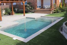 Building A Swimming Pool, Swimming Pools Backyard, Swimming Pool Designs, Pool Landscaping, Backyard Pool Designs, Small Backyard Pools, Small Pools, Pool Decking Concrete, Small Pool Design