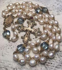Pearl Rosary ~ Large Genuine Cultures Baroque Pearls Antique Bronze Design