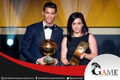 - FIFA Ballon d'Or Gala: #CristianoRonaldo of Portugal and Real Madrid and #NadineKessler of Germany and VfL Wolfsburg pose with their FIFA #BallondOrAwards after the #FIFA Ballon d'Or Gala 2014 at the #Kongresshaus on January 12, 2015 in #Zurich, #Switzerland.