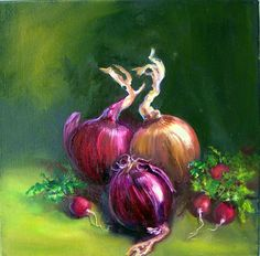 painting - Onions with Radishes 2 by Lolita Dickinson