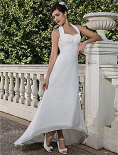 Sheath/Column Empire Halter Asymmetrical Chiffon Wedding Dre... – USD $ 149.99