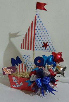 Kids Party Themes, Birthday Party Decorations, Baby Boy Shower, Baby Shower Gifts, Nautical Centerpiece, Balloon Arrangements, Nautical Party, Candy Bouquet, Baby Shower Centerpieces