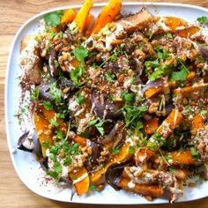 Roasted butternut squash and red onion with tahini and za
