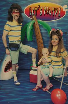 While Chuck and Treena's annual pool party photo backdrop was popular with some of the younger guests, the old timers missed the wild jungle cats and bemoaned the arrival of the ubiquitous shark.