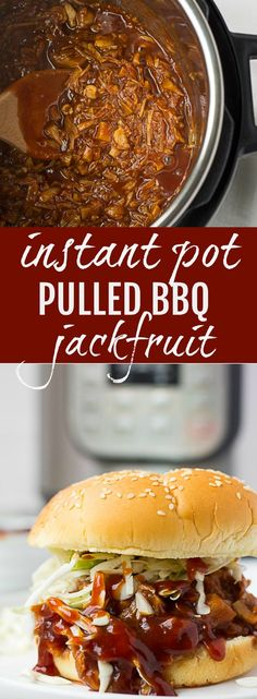 Instant Pot Pulled BBQ Jackfruit, easy and quick! Sure to please even meat eaters. Instant Pot Pulled BBQ Jackfruit, easy and quick! Sure to please even meat eaters. Vegan Crockpot Recipes, Vegan Recipes Easy, Veggie Recipes, Whole Food Recipes, Vegan Recipes Instant Pot, Instapot Vegan Recipes, Jackfruit Recipes Slow Cooker, Jackfruit Ideas, Recipes