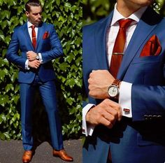 Wedding Suit (Jacket Pant Tie Handkerchiefs)Bule Wedding Suit For Men Formal Groom Bestmen Suits Custome Fashion Tuxedos Brand Clothing Suits Formal Suits, Men Formal, Formal Dress, Sharp Dressed Man, Well Dressed Men, Mens Fashion Suits, Mens Suits, Men's Fashion, Prom Suits For Men