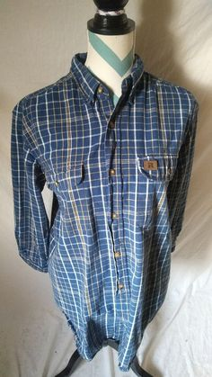 904f9300f81 Riggs Workwear by Wrangler Men s Size Large Blue Plaid Long Sleeve Shirt   RiggsWorkwearbyWrangler  ButtonFront