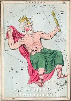 "Cepheus, as depicted in early 19th century Urania's Mirror. (Image: Ian Ridpath) The constellation was one of those described in the first century AD. Cepheus nearly lost his daughter Andromeda to a sea monster because the arrogant boasting of his wife had angered the god Poseidon. ©Mona Evans, ""Cepheus the King"" http://www.bellaonline.com/articles/art29501.asp"