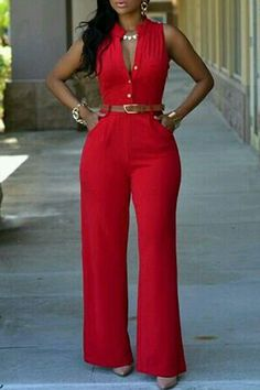 wholesale-stylish o neck sleeveless button design red qmilch one-piece jumpsuits (without Pantalon Elephant, Red Jumpsuit, Jumpsuit Style, Affordable Clothes, Wholesale Clothing, Cheap Wholesale, Jumpsuits For Women, Chic Outfits, African Fashion