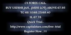 CS FOREX CALL: BUY USDINR JAN., (MINI LOT) ABOVE 67.95  TG 68.10/68.25/68.40  SL 67.78  Quick Trial-http://www.capitalstars.com/free-trial Register Now...!!!