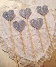 Set of 10 Silver Glitter Heart Cupcake Toppers  by TypeWright