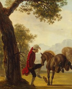 Huber, Jean. 1721-1786 Title: Voltaire Taming a Horse Place: Switzerland Date: Between 1750 and 1775 Book, album, seria: Series of paintings devoted to Voltaire Material: canvas Technique: oil Dimensions: 62x50 cm