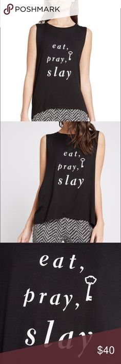 Eat Pray Slay 🔑 muscle tank by bcbgeneration Eat Pray Slay 🔑 muscle tank by bcbgeneration black with white letters. Sold out online. NWT sells retail for $48. Being sold in my closet for $40...plus the posh shipping, you are still paying less than what you would pay in store for this. Happy Poshing. BCBGeneration Tops Muscle Tees