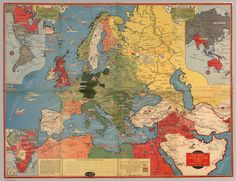 Dated events, World War map, by Stanley Turner, 1942.