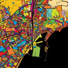 Malaga Colorful Vector Map on Black by Hebstreits #stockimage #design #map #colorful #vector