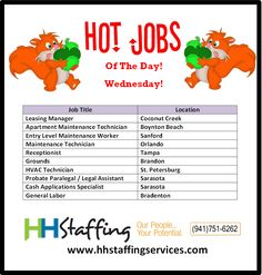 Hi, #jobseekers! How's your day treating you? We hope it hasn't been too nuts. ;) If you are looking for assistance with your search for #employment, we can be an excellent (and free!) resource. Check out our hot #jobs of the day and see if one may be a good fit for you. Applications to be submitted via the website at www.hhstaffingservices.com. If you have any questions regarding our #staffingservices, please give us a call at (941)751-6262. Thank you!