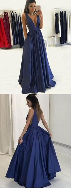 2017 prom dress, long prom dress, navy blue long prom dress, elegant navy long evening dress