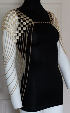 Shoulder Body Chain Gold Draping Chains Boho Avant Garde by crystalelements1 on Etsy https://www.etsy.com/listing/229945292/shoulder-body-chain-gold-draping-chains
