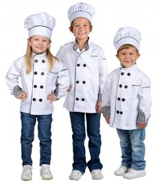 This Chef jacket is a must have for any aspiring Chef! Cooking seems to be so much more fun when little Chefs can look the part! Whether helping Mom in the kit Unique Couple Halloween Costumes, Costumes For Teens, Funny Halloween Costumes, Cool Costumes, Chef Dress, High Quality Costumes, Double Breasted Jacket, Hat Sizes, Big Kids