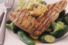 Tuna steaks with lime & chilli butter