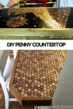 Make a DIY countertop for pennies. How to upgrade an ordinary countertop with pennies and epoxy.