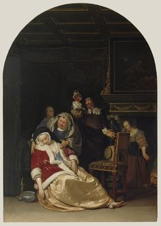 The Doctor's Visit -- Frans van Mieris the Elder (Dutch, 1635 - 1681) -- Netherlands; 1667 -- Oil on panel -- 44.5 x 31.1 cm (17 1/2 x 12 1/4 in.)