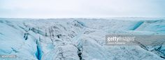 Stock-Foto : The frozen and barren wasteland of ice and crevasse on the surface of the Greenland Ice Sheet.