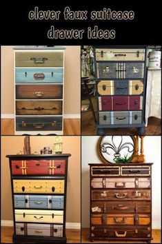 Give Your Old Dresser a New Look with This Beautiful Faux Suitcase Drawer Idea! - Give Your Old Dresser a New Look with This Beautiful Faux Suitcase Drawer Idea! Best Picture For b - Refurbished Furniture, Paint Furniture, Repurposed Furniture, Furniture Makeover, Vintage Furniture, Home Furniture, Furniture Storage, Furniture Ideas, Dresser Makeovers