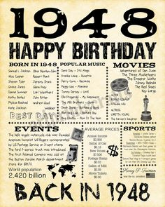 Birthday 1948 Fun Facts 1948 for Husband Gift for 70th Birthday Party Ideas For Mom, Birthday Surprise Husband, 85th Birthday, Happy 40th Birthday, 70th Birthday Parties, 70th Birthday Card, Birthday Diy, Birthday Celebration, Don Juan
