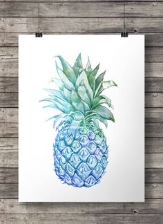 Printable art  Blue watercolor pineapple  Aloha decor art