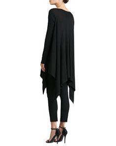 -52ES St. John Collection Knit Bateau Tunic with Ribbed Sleeves & Stretch Milano Knit Alexa Slim Ankle Pants