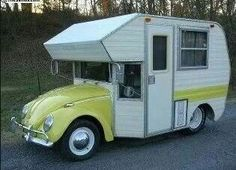 Volkswagen Beetle Camper Van, now that is camping Vintage Campers, Camping Vintage, Vw Vintage, Vintage Travel Trailers, Vintage Motorhome, Retro Campers, Rv Campers, Luxury Campers, Rv Bus