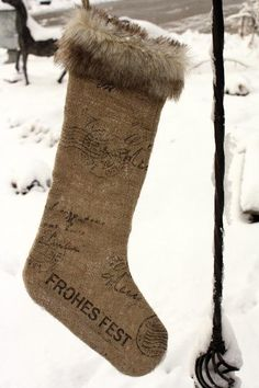 """Fur Trimmed Burlap Christmas Stockings $14 each    17"""" tall x 10"""" wide  natural hemp cord for hanging    reads: Frohes Fest (glad celebration)"""