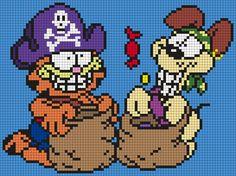Garfield And Odie In Halloween Costumes Perler Bead Pattern