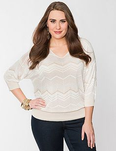In fun & fashionable chevron stripes, our sheer dolman sweater is an eye-popping trend essential. Lightweight and super soft, this 3/4 sleeve pullover makes sweater season last year round. Finished with a sexy V-neck, banded cuffs and a wide, banded hem, wear it over your favorite cami and slim-fitting bottoms for a chic combo. sonsi.com
