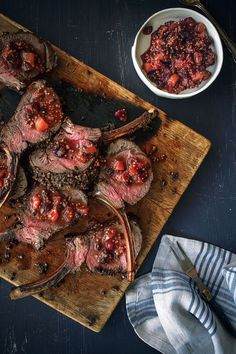 Juniper Berry-Crusted Rack of Venison with Mostarda. If ever I can have sugar. sounds awesome!