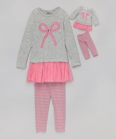 Another great find on #zulily! Pink & Gray Ruffle Tunic Set & Doll Outfit- Toddler & Girls by Dollie & Me #zulilyfinds