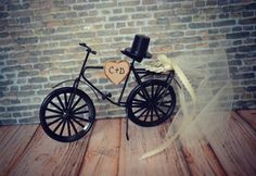 Bicycle-wedding-cake topper-sports-grooms by MorganTheCreator