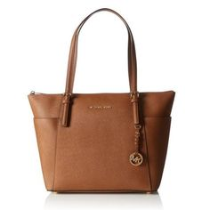 022ade89ee9 Michael Kors Jet Set Large Top-Zip Saffiano Leather Tote Bag - Luggage