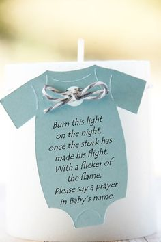 "Baby Onesie 2.5"" ~ Tag Only ~ Burn this light on the night, once the stork has made his flight. With a flicker of the flame, please say a prayer in Baby's name ~ Baby Shower Gift Tags ~ 10 Tags"