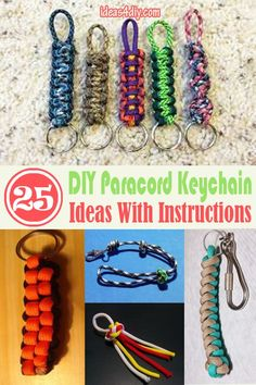 25 DIY Paracord Keychain Ideas and Patterns with Instructions for all Paracord Enthusiasts! Paracord Keychain, Diy Keychain, Keychain Ideas, Paracord Beads, Paracord Bracelets, Lanyard Tutorial, Macrame Tutorial, Parachute Cord Crafts, Paracord Projects