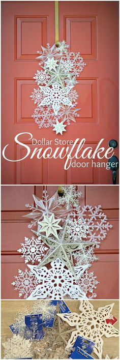 This is best and cutest Christmas door decoration but maybe it would be far from your budget. Because snowflake door hanger is totally made from the store bought goodies.