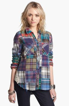 Free People 'Lost in Plaid' Patchwork Shirt available at #Nordstrom
