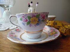 Antique Bone China Teacup and Saucer Pincushion, Pink Floral Fabric, Pink, Yellow, Blue Flowers, Gold Trim Sewing Quilting by KylesUpcycle on Etsy